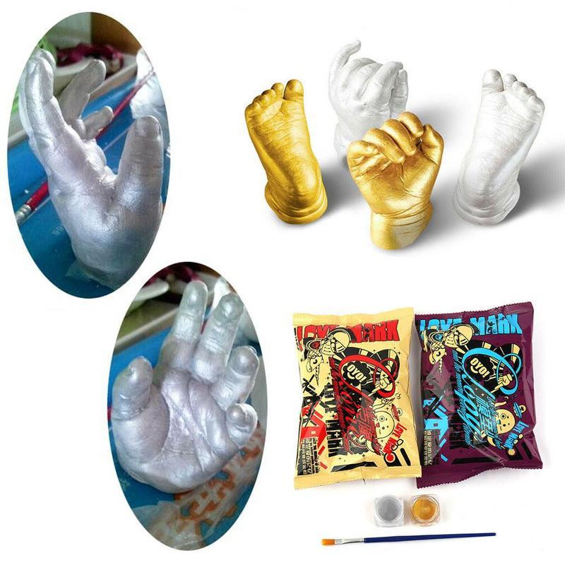 1 Set 3D Hand & Foot Print Mold Powder Plaster Casting Kit Handprint Footprint Keepsake Gift Baby Growth Memorial Birthday Gift