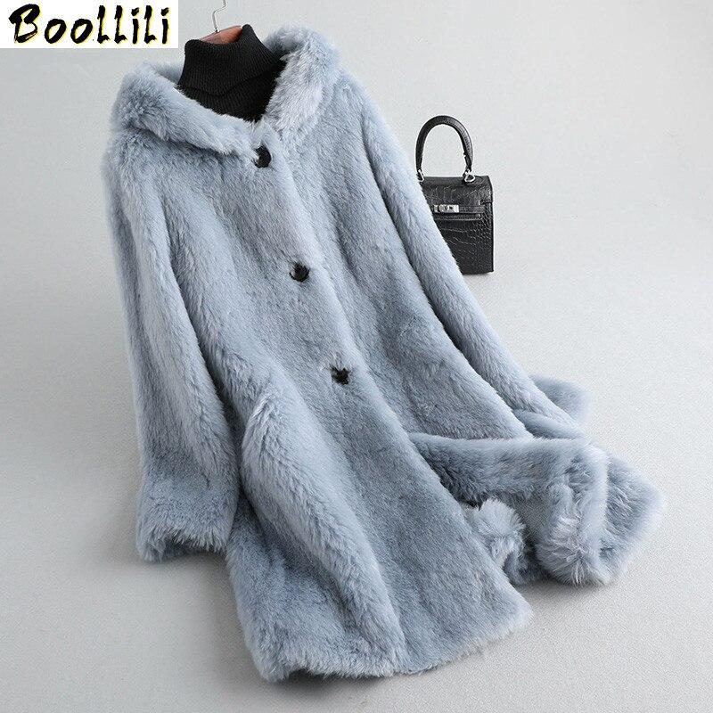 Boollili-معطف من الفرو الأصلي 100% ، معطف نسائي من فرو الأغنام ، معطف شتوي ، ملابس نسائية ، جاكيت طويل كوري ، 2020