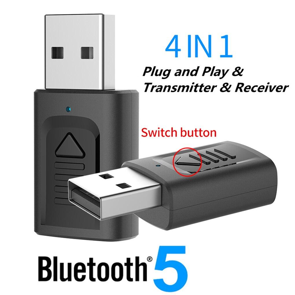 Adaptador inalámbrico USB Bluetooth V5.0, transmisor receptor de Audio 4 en 1, adaptador auxiliar de 3,5mm para TV, PC, ordenador, estéreo para el hogar