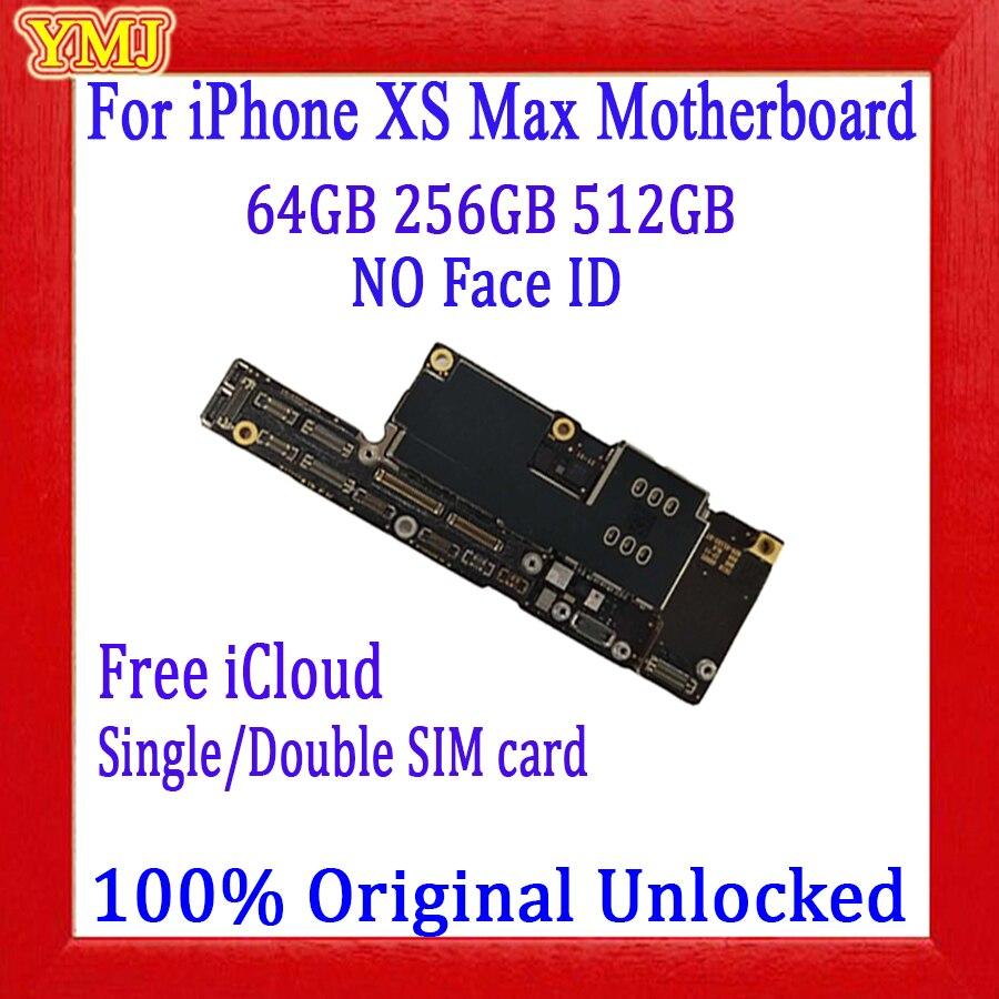 Livre icloud para iphone xs max placa mãe com/sem rosto id original desbloqueado para iphone xs max placa lógica 64 gb 256 gb 512g