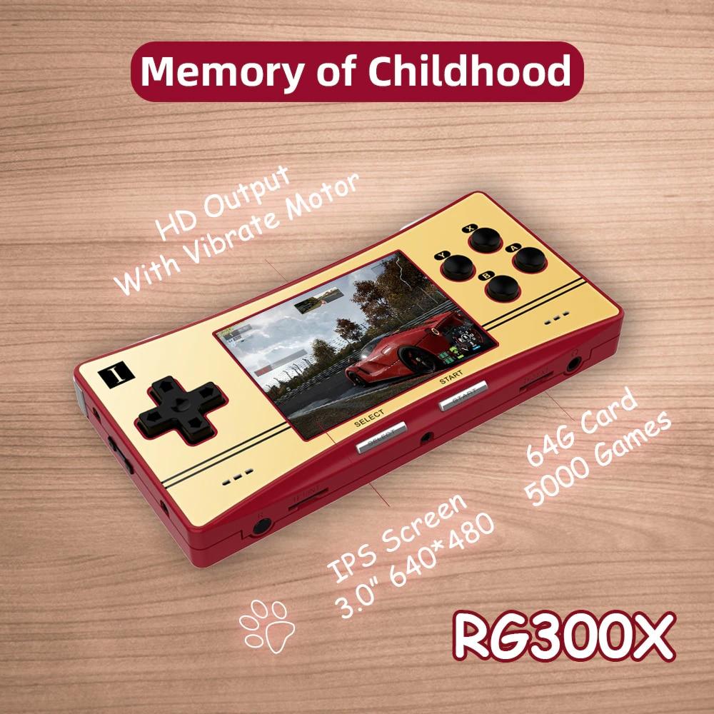 Consola de juegos RG300X, pantalla IPS de 3,0 pulgadas, salida HD, reproductor de videojuegos de 64 bits, mini juego portátil