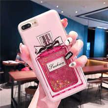 Quicksand liquide dynamique paillettes étui pour iphone 5 5S SE 6S 6 7 8 Plus X XR XS MAX bouteille de parfum Bling paillettes housse de téléphone