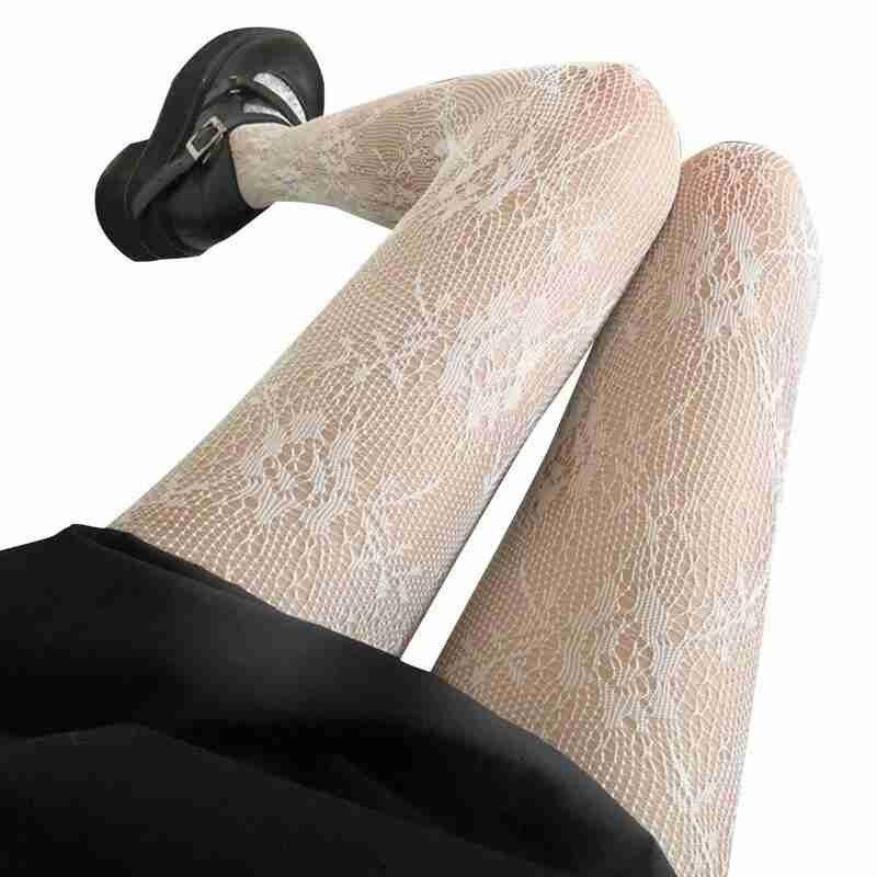 2021 New Japanese Black Vintage Rose Flower Fishnet Stockings Lace Trousers Bottoming Black Stocking