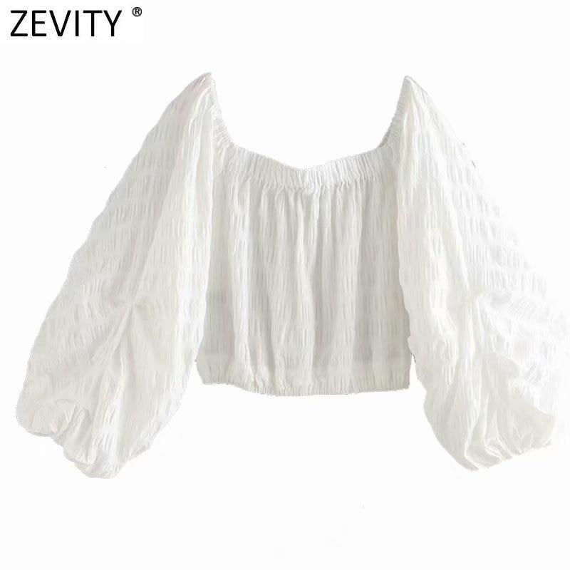Zevity-بلوزة بيضاء مثيرة بأكمام منتفخة LS7399 ، قميص نسائي بياقة قارب وأكتاف عارية ، 2020