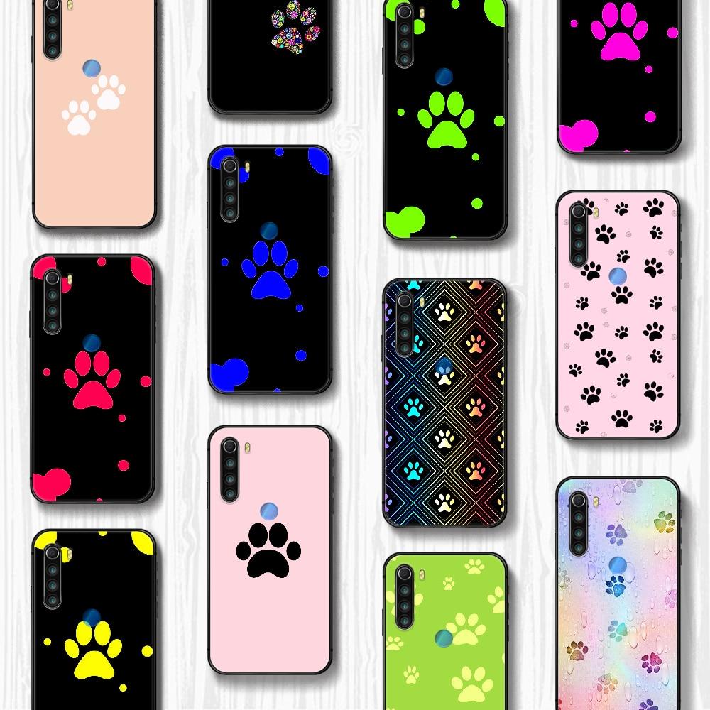 Arte do cão pegada pata caso do telefone capa casco para xiaomi redmi 7a 8a s2 k20 nota 5 5a 6 7 8t 9s pro max preto pára macio celular