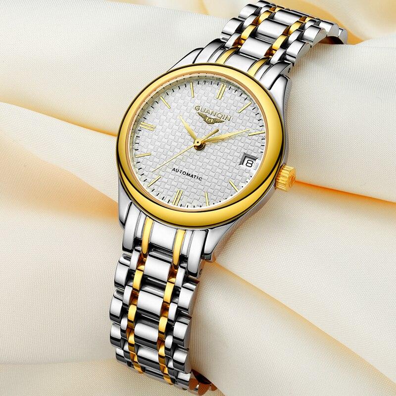 Topo da Marca de Luxo Guanqin Relógios Femininos Relógio Mecânico Grid Dial Senhoras 2021 Prata Ouro Feminino