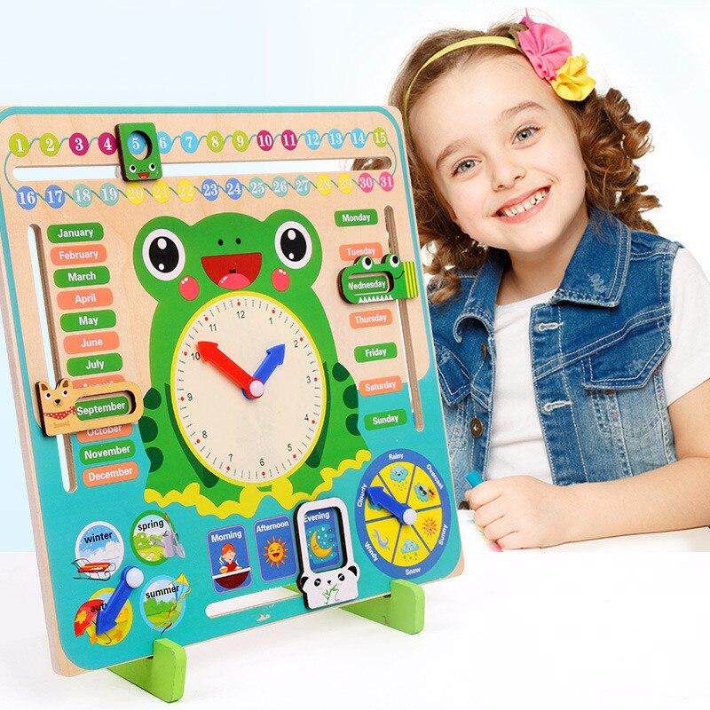 Conjunto de reloj con calendario de rana de madera, calendario de madera para niños, juguetes de correspondencia cognitiva, reloj Montessori, juguetes de aprendizaje temprano para niños