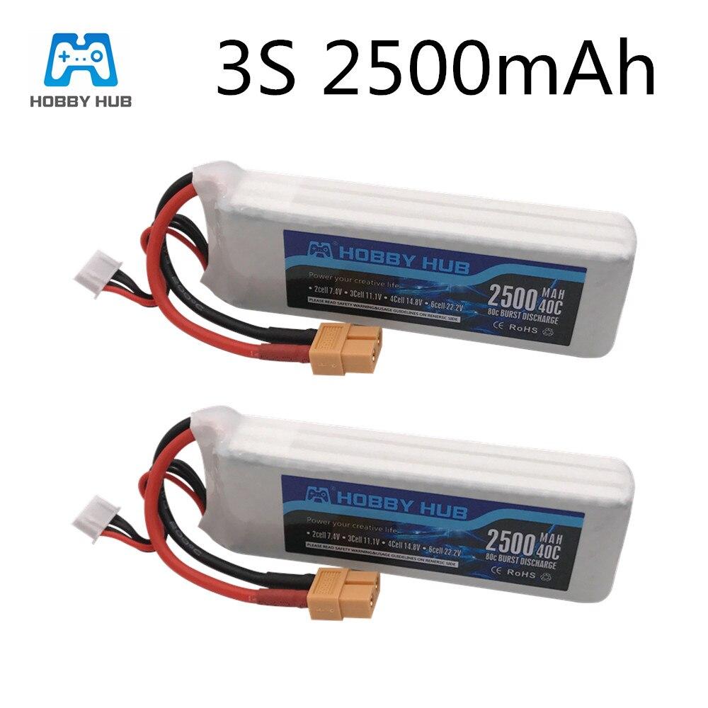 2pcs/Lot  Hobby Hub Battery 11.1V 2500mAh 40C Battery For Drone RC Car Airplane Part 3s Lipo Battery 11.1v For X16 X21 X22