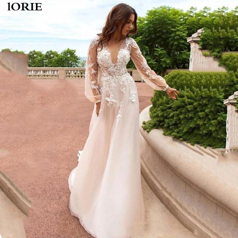 LORIE A Line Lace Wedding Dresses Puff Sleeve Boho Bride Romantic Buttons Back Vestidos de novia
