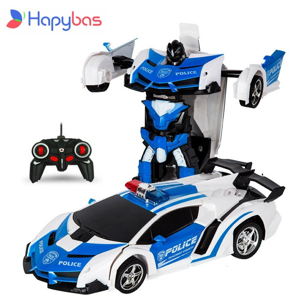 RC Car Transformation Robots Sports Vehicle Model Robots Toys Cool Deformation Car Kids Toys Gifts F