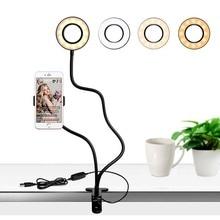 Support paresseux Portable support pour téléphone avec Lumière Danneau De Selfie pour le Flux En Direct,, Pince avec lampe LED pour selfies Costume pour liphone Mobile