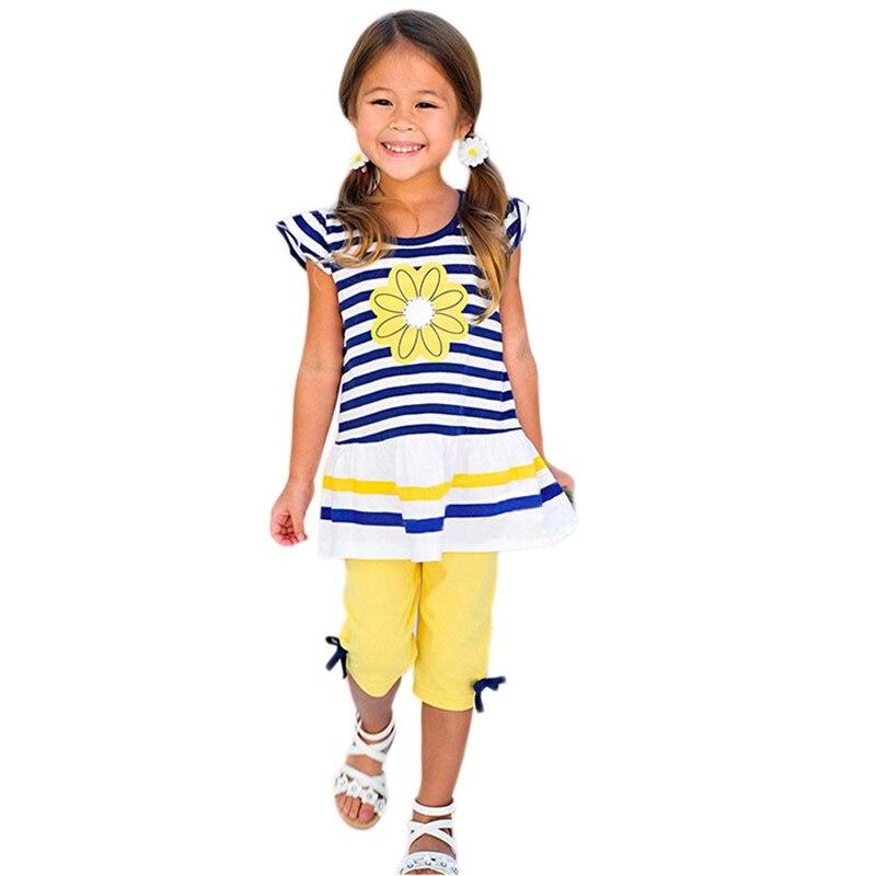 Conjunto de ropa para niños 2020, ropa de verano para niñas, Tops a rayas + Pantalones cortos 2 uds, traje de bebé para niñas, ropa de chándal 2 3 4 5 6 7 8 9 años