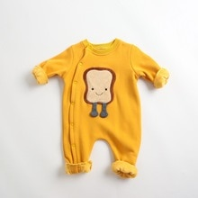 ATUENDO Autumn Fashion Newborn Baby Rompers 100% Cotton Solid Yellow Soft Infant Jumpsuit Korean Kaw