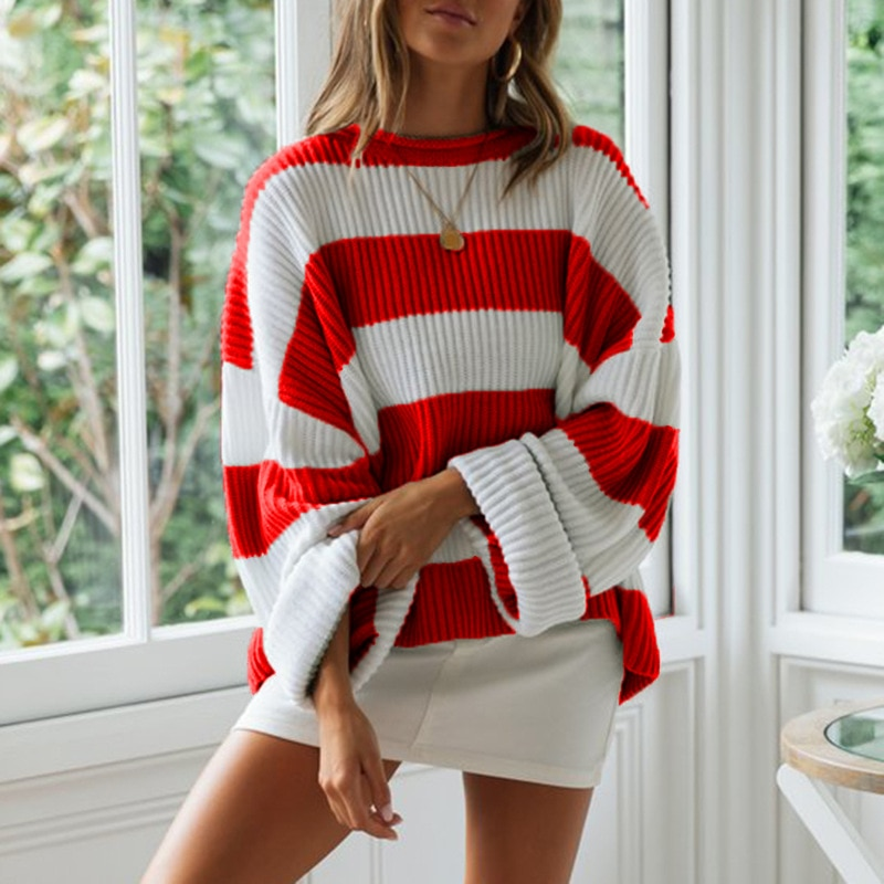 ZOGAA Striped Loose Ladies Sweater Pullover 2019 Autumn Winter New Arrival Red Jumpers Knit Sweaters Women Pull Femme hdy haoduoyi 2018 new arrival beige knit half necked openwork loose pullover sweater autumn winter