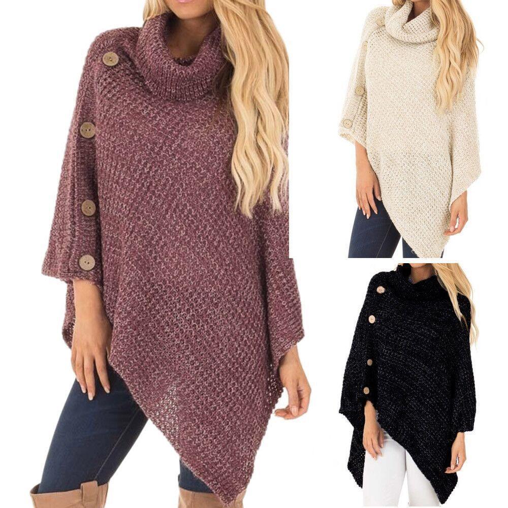 Suéter Irregular de punto con botones de plomo para mujer, jersey de mujer a la moda para exteriores