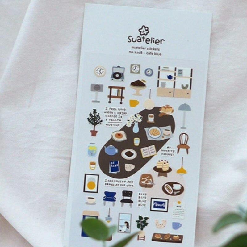 Pegatinas de troqueles de corte color azul café, pegatinas decorativas para álbum de recortes, paquete de pegatinas de Corea, material de papel DIY, papelería de hobby