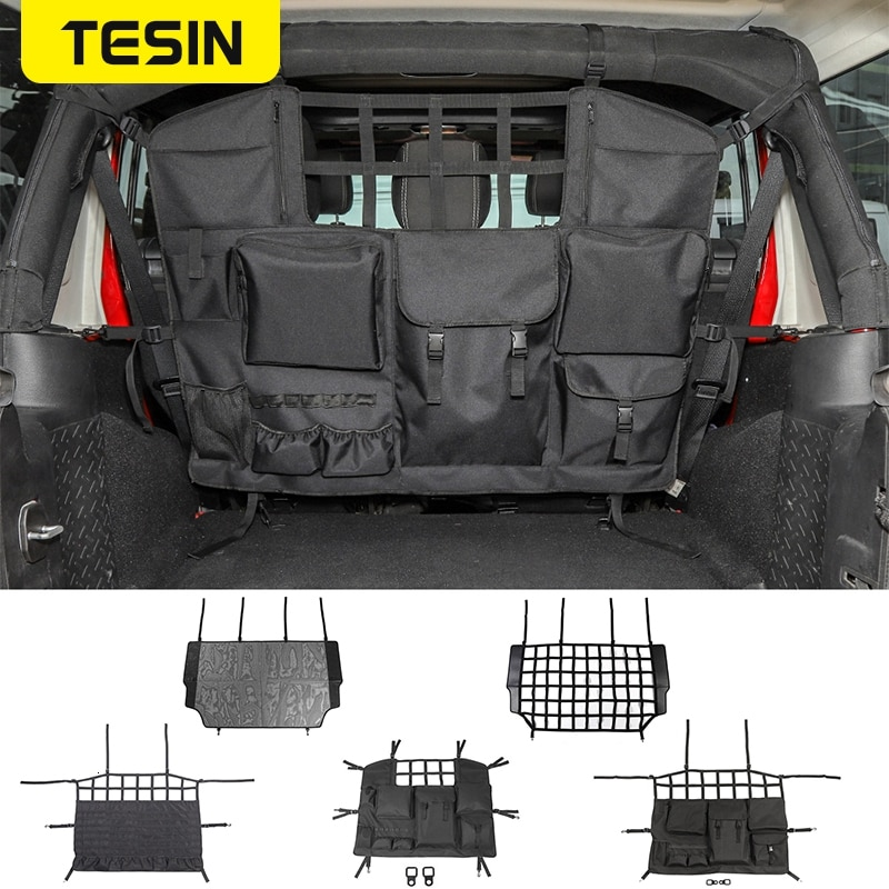 TESIN Stowing Tidying For Jeep Wrangler JK JL 2007-2018+ Car Trunk Pet Isolation Net Storage Bag For Jeep Wrangler Accessories enlarge