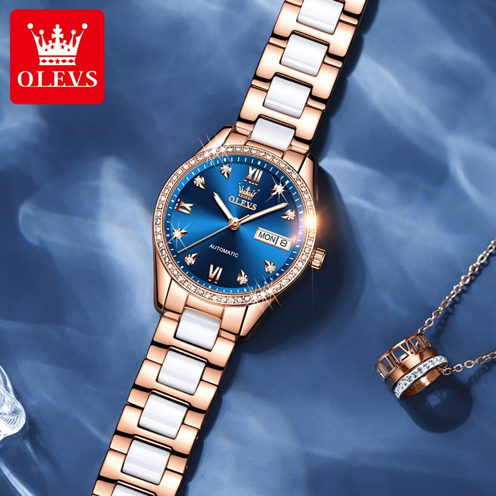 OLEVS New Luxury Women Watches Automatic Mechanical Wrist Watch Rhinestone Ladies Fashion Ceramic Bracelet Gift Top Brand 6637 enlarge