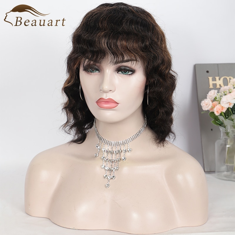 Beauart Deep Wave 100% Human Hair None Lace Front Wig With Bangs 13