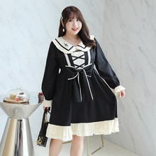 Femmes printemps doux court style Lolita robe grande taille genou loisirs robe 100 kg peut porter