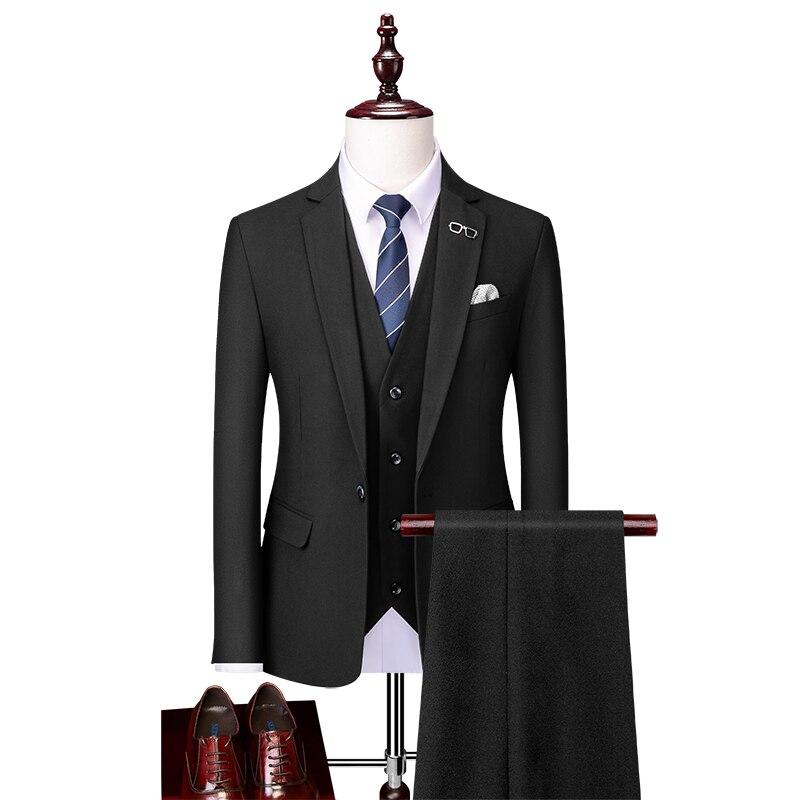 بدلة رسمية للرجال ، لون نقي ، أسود ، رمادي ، كاكي ، مقاس كبير 6XL ، أعمال ، مأدبة ، زفاف ، عريس