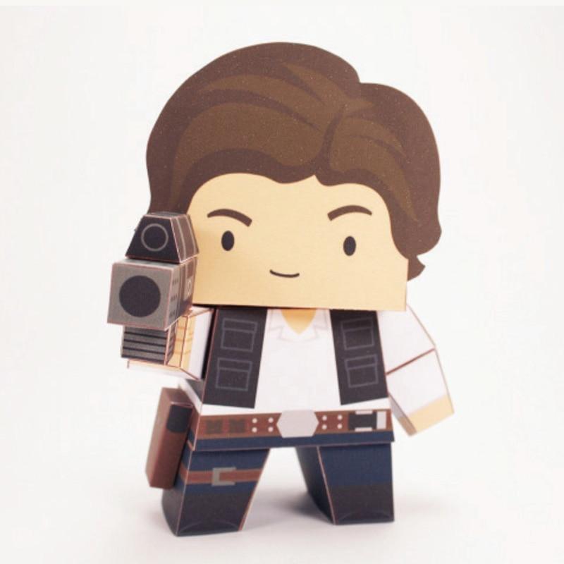 Star Wars Han Solo plegable corte Mini papel lindo modelo 3D Papercraft película Figura DIY Cubee niños adultos artesanía juguetes FC-005