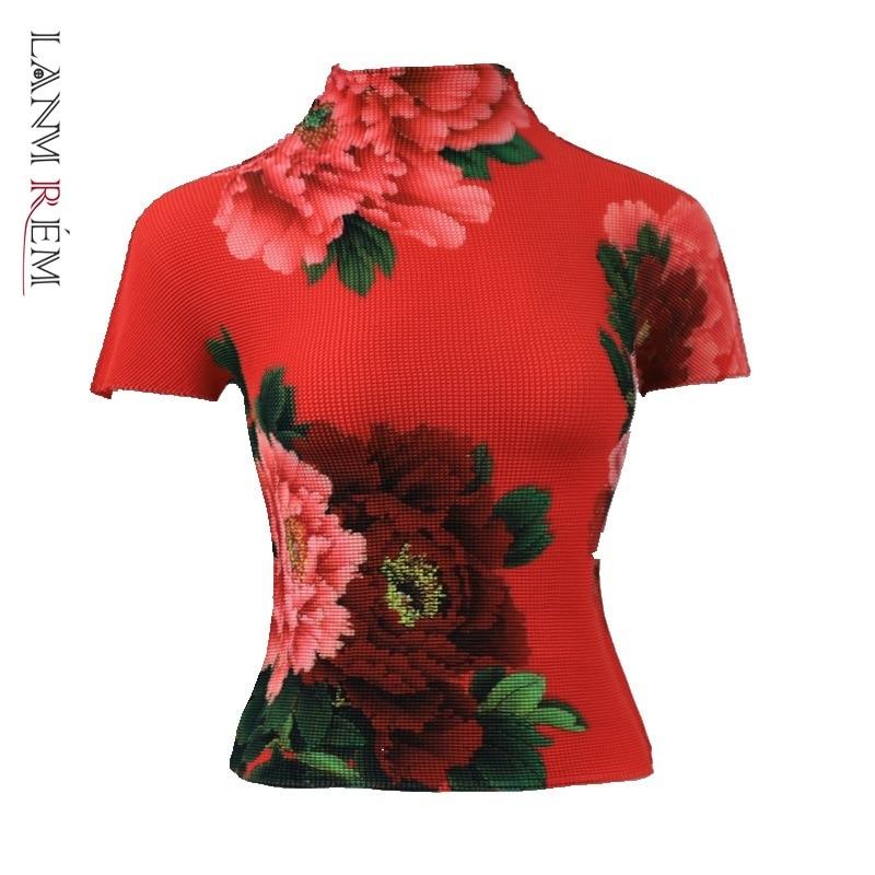 LANMREM-ملابس ذات ثنيات على الطريقة اليابانية للنساء ، تي شيرت نسائي نصف ياقة عالية ، تي شيرت قماش مطاطي بأكمام قصيرة ، YJ779 ، 2021