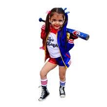 Disfraces de Harley para niñas, camiseta del Escuadrón Quinn, disfraz de Joker, chaqueta de Halloween