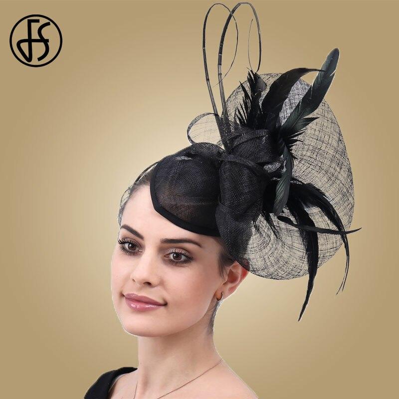 Sombreros de mujer FS, tocado de plumas, sombrero de boda, Clip de pelo rosa púrpura, elegante sombrero de pastillero nupcial para iglesia, sombrero de mujer