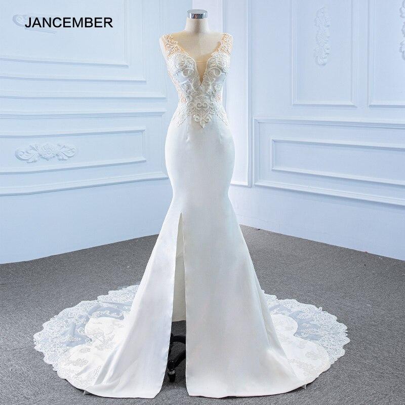 فستان زفاف أبيض بتصميم مطبوع ، دانتيل برتقالي ، تنورة ضيقة ، شق جانبي ، ذيل السمكة ، RSM67184 ، 2021
