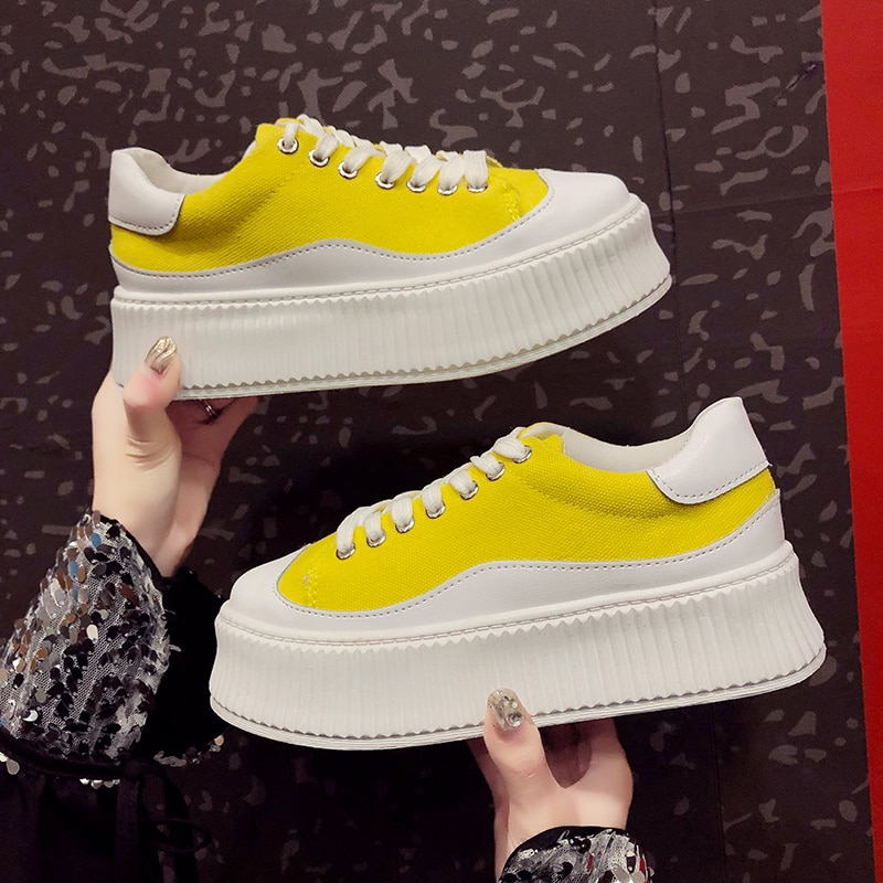 2019 New Wedges Canvas Shoes Woman Platform Vulcanized Shoes Height Increasing Casual Shoes female low-top Sneakers NA-65