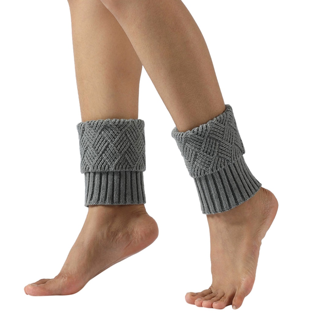 Calcetines calientes del tobillo para mujer invierno Harajuku moda Simple mujeres Invierno Caliente calentadores de pierna de punto Crochet Slouch Boot Calcetines