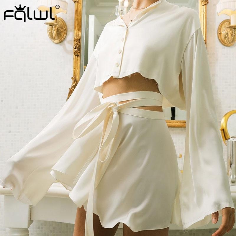 FQLWL Casual Black White Sexy Satin Skirts Womens Ruffles Bandage High Waist Summer Beach Skirt Ladies Bodycon Mini Skirt Female