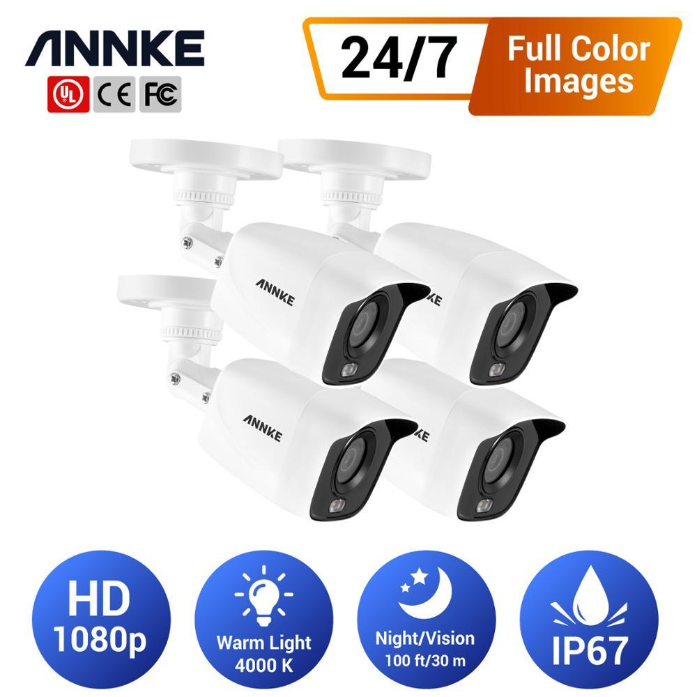 ANNKE 4 Uds 1080p cámaras de seguridad con visión nocturna a todo Color 24/7 para sistemas de cámara CCTV DVR Kit de cámara interior al aire libre