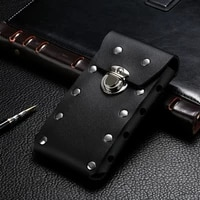 mobile phone waist packs pouch for iphone samsung huawei hook hoop holster rivet waist bag with belt leather cover purse clutch