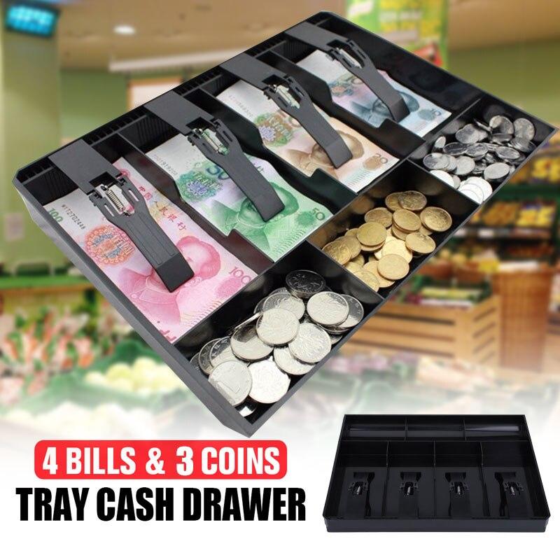 SOLEDI ABS cajón de efectivo para tienda a la moda, 3 monedas, 4 billetes, venta en GARAJE, caja de almacenamiento elegante para cajero, bandeja de inserción de monedas de repuesto