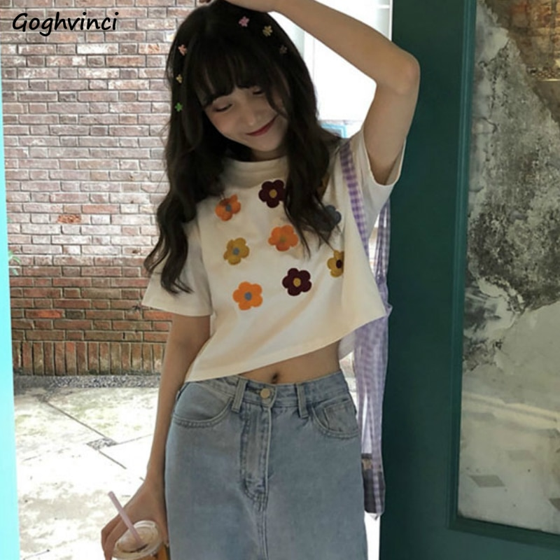 T-shirts Women Short Sleeve Tees Floral Leisure Basic Crop Top Womens Sweet All-match Kawaii Chic Korean Style Ulzzang BF Tshirs