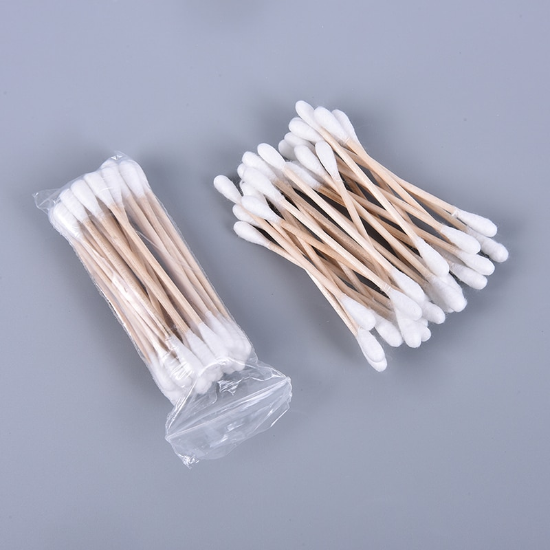 100pcs/ Pack Double Head Cotton Swabs Women Makeup Buds Tip for Medical Wood Sticks Nose Ears Cleani