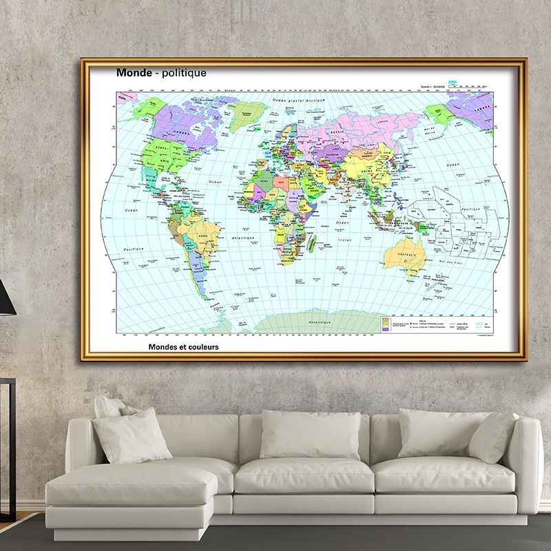 Large Non-woven World Map with French Non-toxic Foldable Office Supplies Detailed Antique Poster Retro Map of World 225x150cm