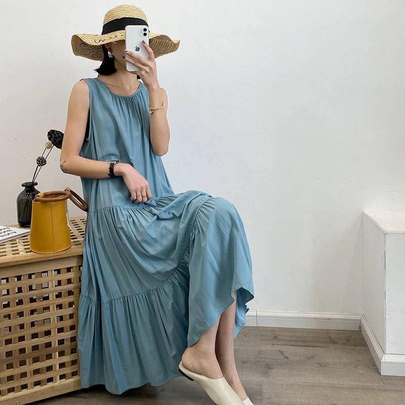 2020 Women Sleeveless O-Neck Spring Women Basic Long Dress Elegant Women Casual Boho Oversized Chiffon Dress Vestidos
