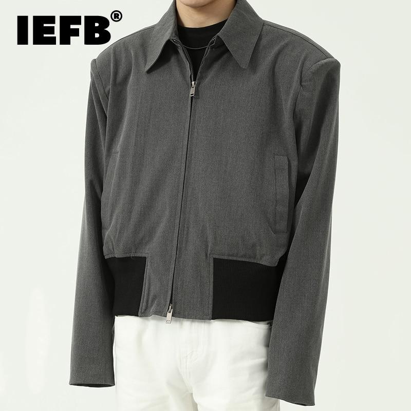 IEFB عالية الجودة ملابس رجالية فضفاض الاتجاه سحاب أكمام طويلة معطف قصير عادية أسود رمادي التلبيب المعتاد جاكيتات 2021 خريف جديد