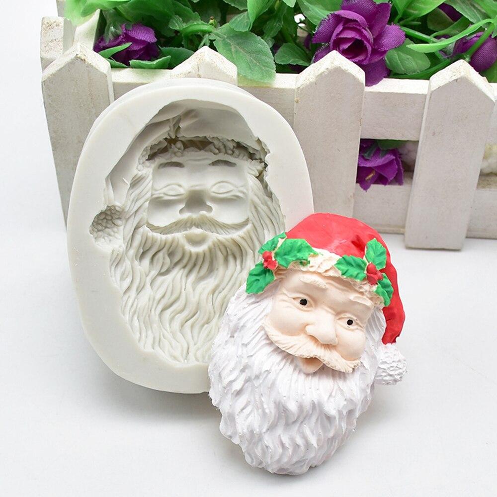 Auriculares de Santa Claus molde de silicona para pastel Fondant Chocolate decoración de pastel de cumpleaños molde de silicona vela de yeso molde epoxi