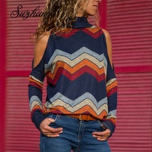 Suzhan femmes Blouses imprimer à manches longues chemise col roulé haut tricoté pull pull Sexy épaule froide hauts décontracté 2019 automne