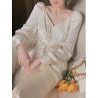 2021 autumn elegant party midi dress women long sleeve v neck office lady one piece dress korea vintage design pure color dress