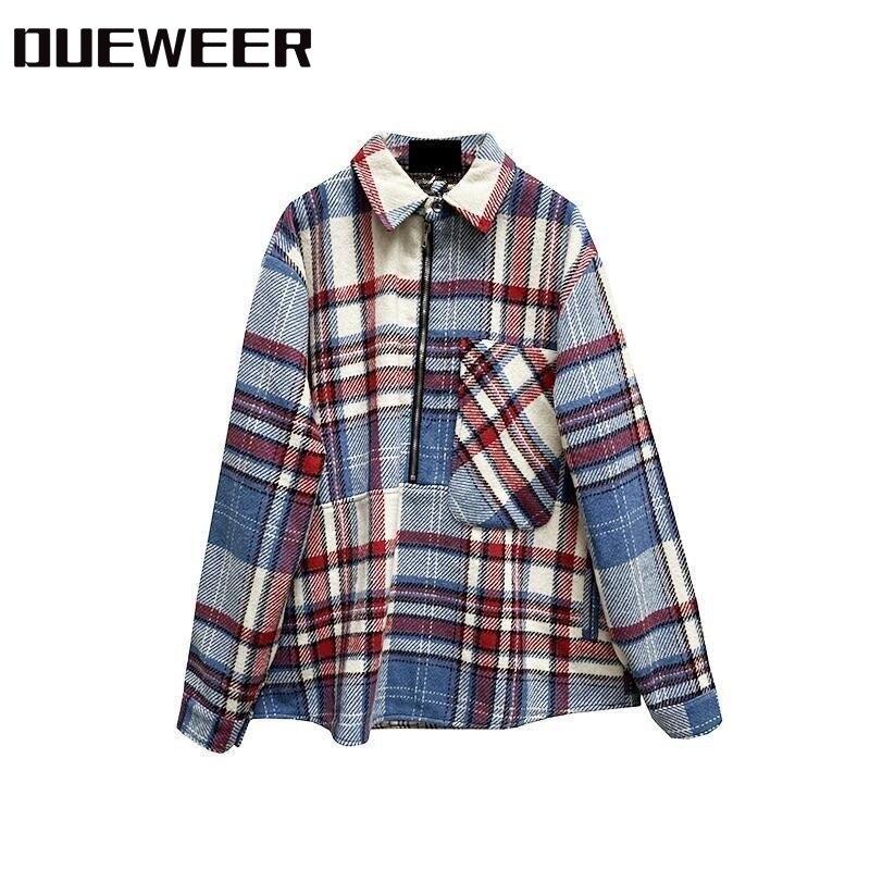 Dueweer-قميص من الصوف الأزرق السماوي مع جيب كبير ، ملابس الشارع الأصلية ، Harajuku ، نصف سحاب ، قميص متباين