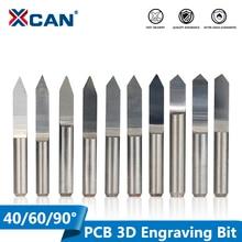 XCAN 10 pièces 45/60/90 degrés PCB V forme gravure Bits 3D CNC routeur Bit 3.175mm tige PCB sculpture outils de fraisage