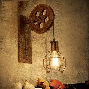 Loft Retro Lanterns Fixtures Pulley Wall Lamp Pendant Suspension Light Fitting Kitchen Bedroom Living Room Wall Lamp Bra Sconce