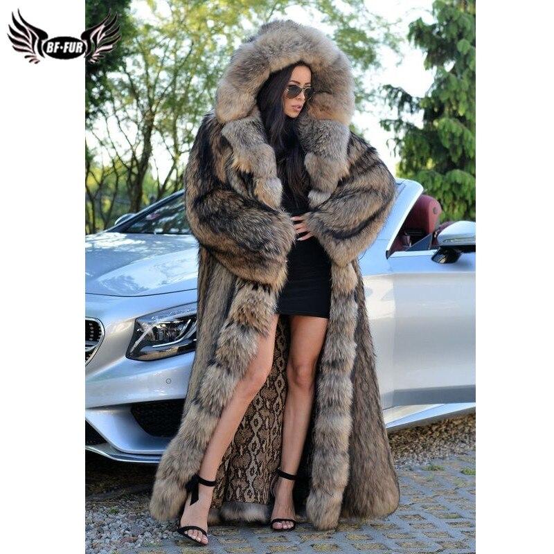 BFFUR-معطف من الفرو الطبيعي الفاخر للنساء ، معطف طويل 130 سنتيمتر ، عصري ، كامل ، راكون ، مع غطاء محرك السيارة ، لفصل الشتاء