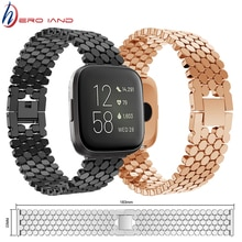 Metal Luxury Wrist Band For Fitbit Versa Alloy Fish Scale Jewelry Buckle Replacement Watch Strap For