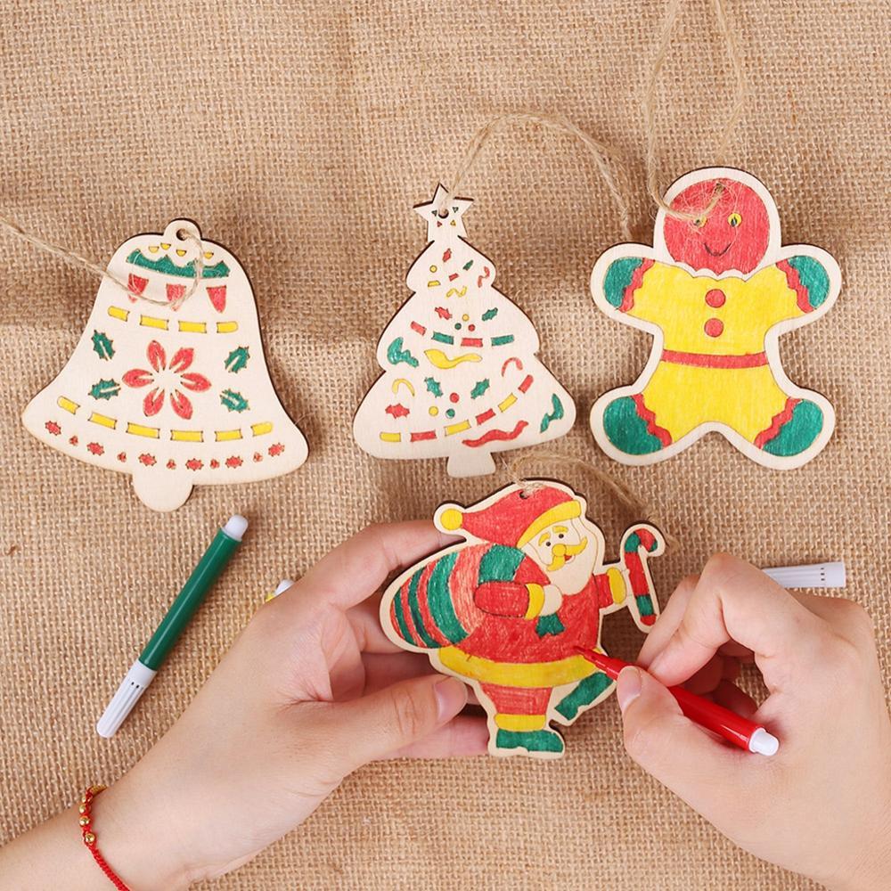 Taoup, DIY, Adornos de árbol de Navidad de madera de colores, decoración navideña para el hogar, colgantes navideños, Santa Claus, manualidades personalizadas